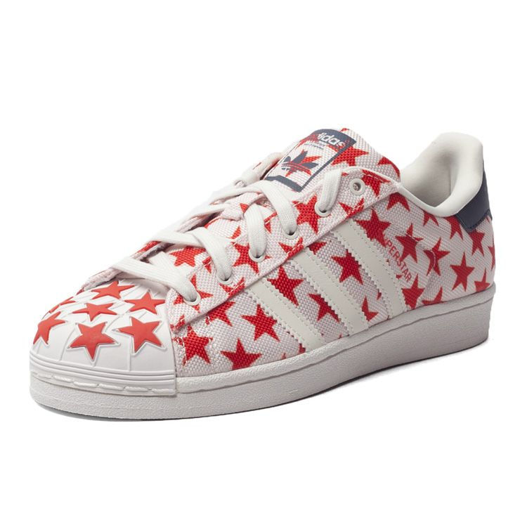 ADIDAS ORIGINALS SUPERSTAR WHITE RED STARS SHELL TOE S75182