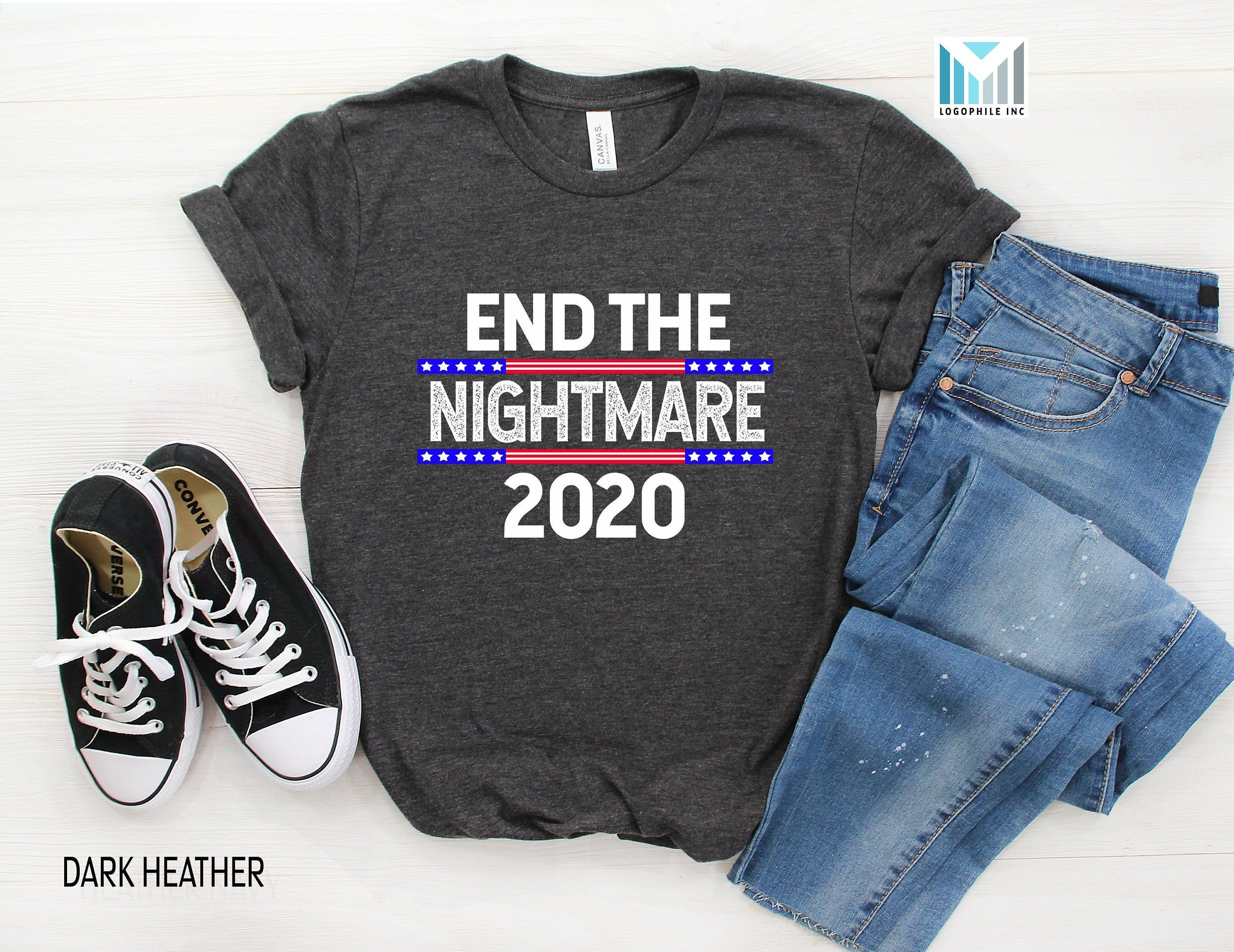 End The Nightmare Funny 2020 Election Day Shirt Vote Shirt Etsy In 2020 Vote Shirts Womens Shirts Election Shirts
