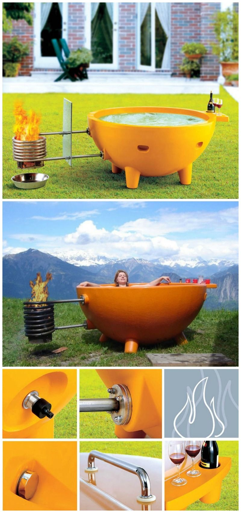 This Eye Catching Wood Burning Fire Hot Tub Not Only