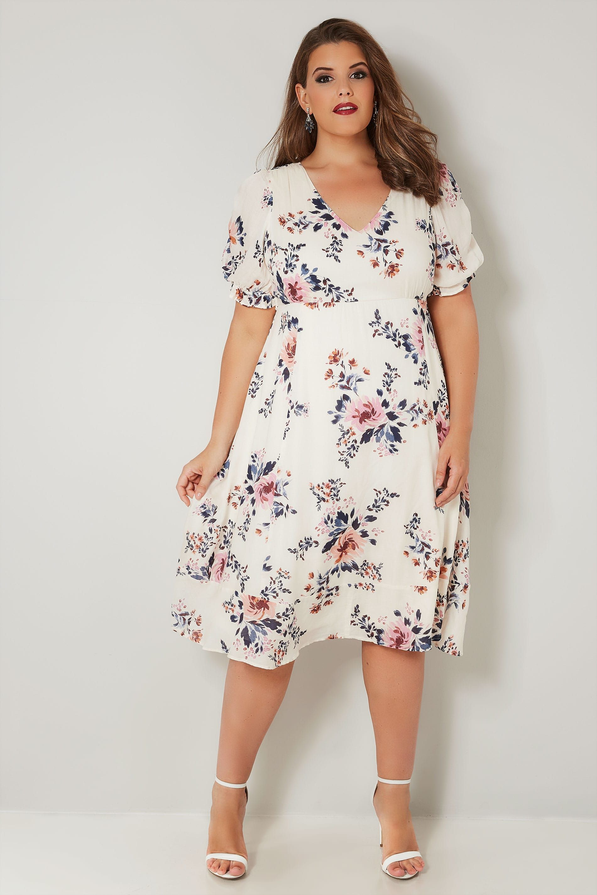 YOURS LONDON Ivory Floral Tea Dress, Plus size 16 to 32 ...