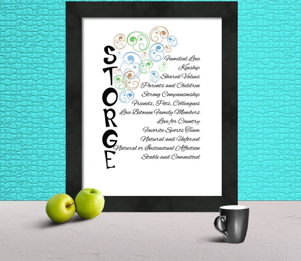 Storge Love Words Poster Greek For Familial Love No Waiting No Shipping Fees Instant Delivery Print