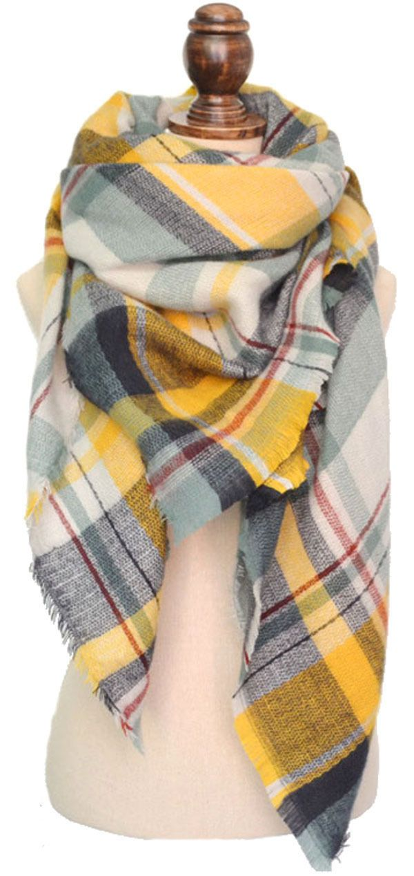 3b29ae894 Grey and Yellow Plaid Blanket Scarf-(Estimated Ship Date 9/28) *Limited  Edition* - Purple Peridot
