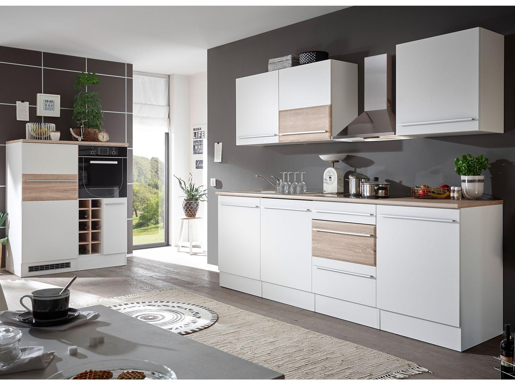 BARY #Küche Dekor Weiß matt/Eiche Sonoma mit ...