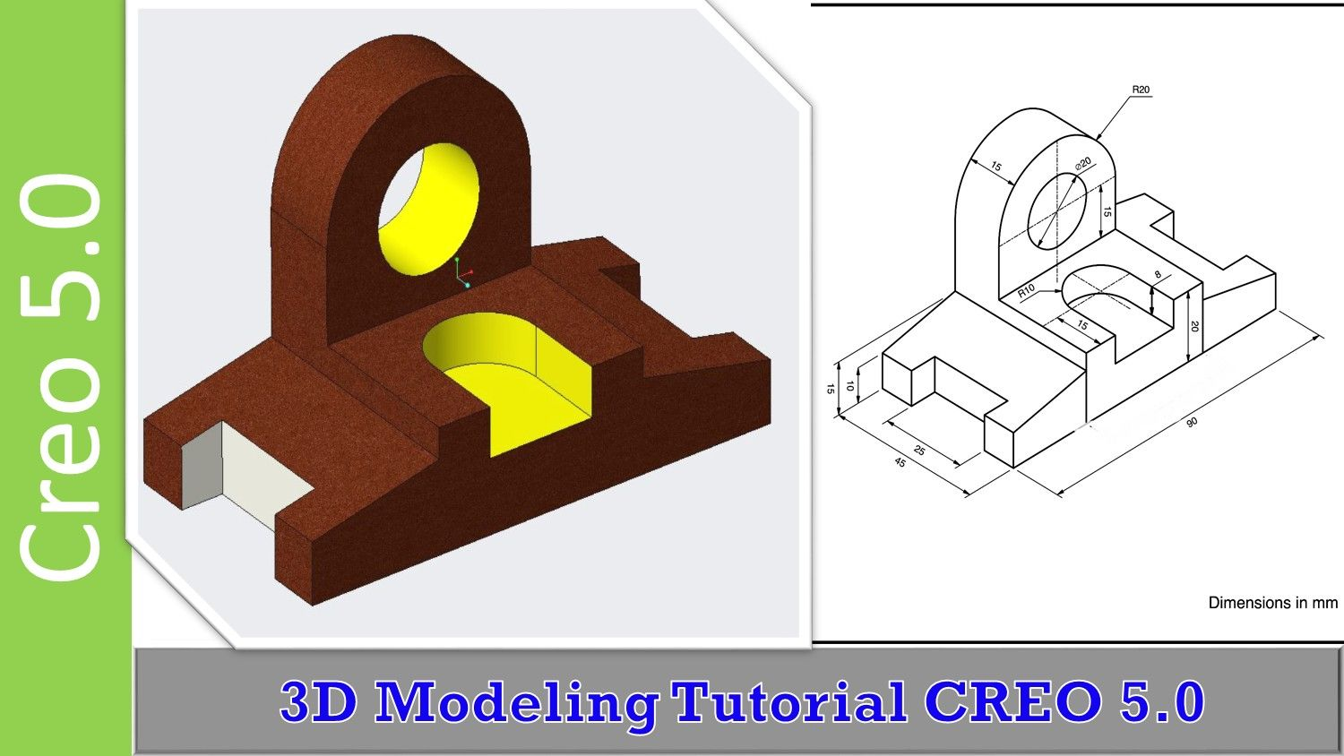 Simple 3D Modeling Exercise! | Creo Parametric Modeling Practice in