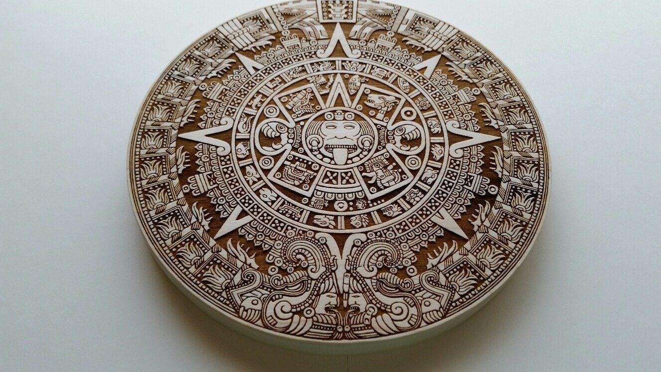 Home Decor Alder Wood Cut Out Laser Cut Aztec Calendar Home Accent