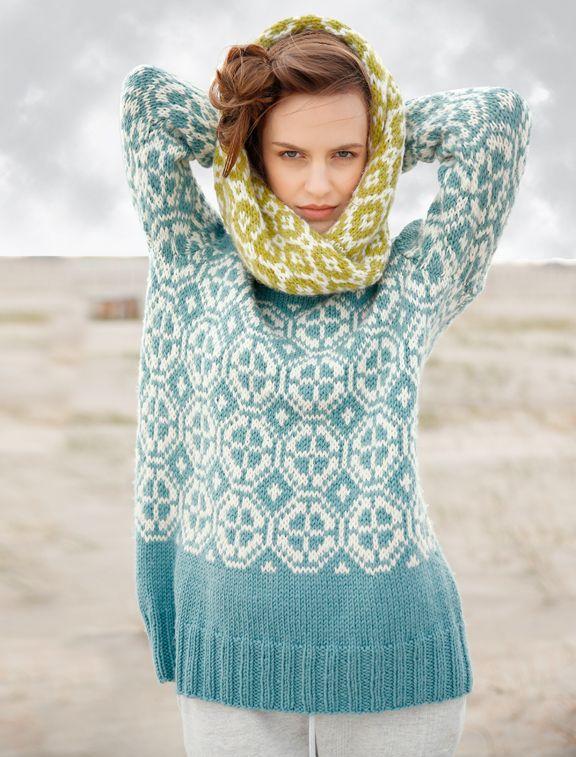 Pullover mit Jacquardmuster in Frostgrün und Wollweiß selber ...