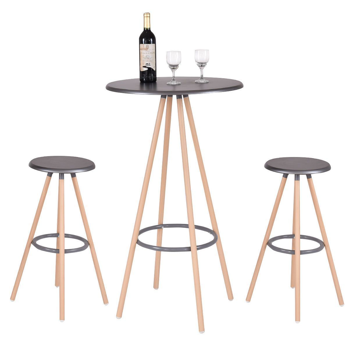 Giantex 3 Piece Bar Table Set With 2 Stools Bistro Pub Round Table