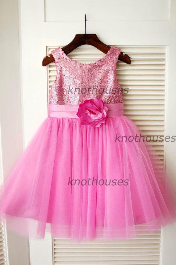 Hot Pink Sequin Tulle Flower Girl Dress Flower Belt Children Toddler Party Dress for Wedding Junior Bridesmaid Dress
