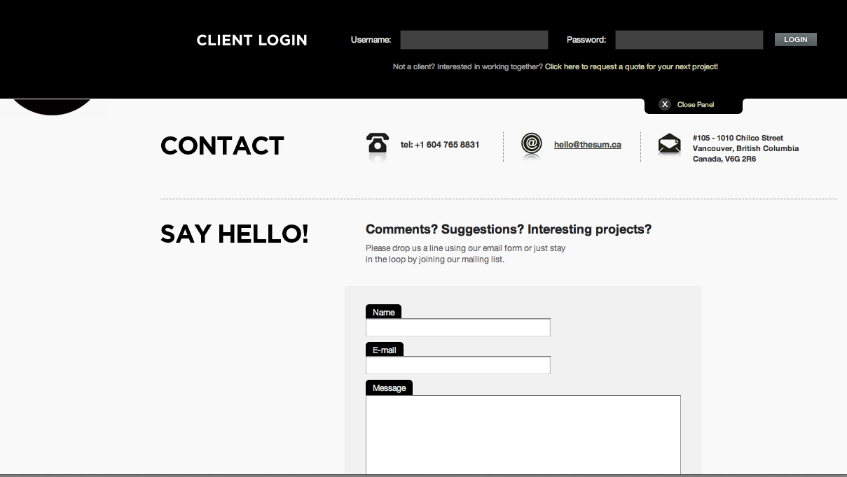 "awesome client login - from design agency: the sum    note - ""not a client..."" call to action"