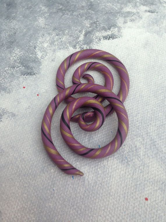 Mauve Gauges Swilrled with Gold Black and Bronze by ArtandKnot, $21.00