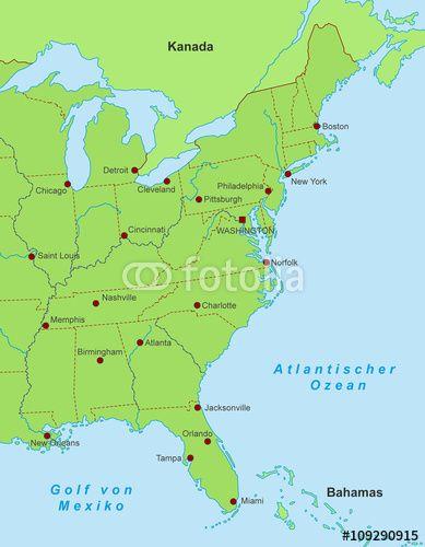 Vektor Ostkuste Der Usa Stadte Grun Usa Stadte