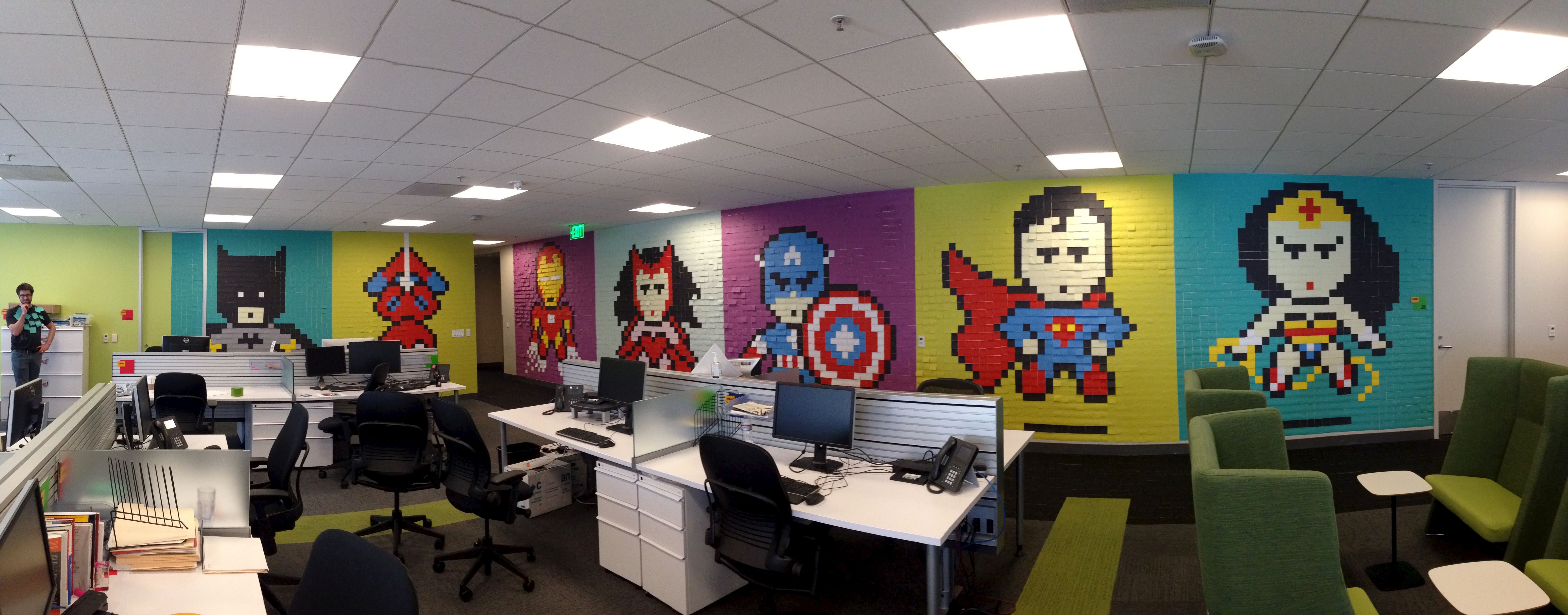 I Got Bored With The Drab Walls At My Office So I Decided To Spruce Them Up A Bit Post It Art Office Mural Mural