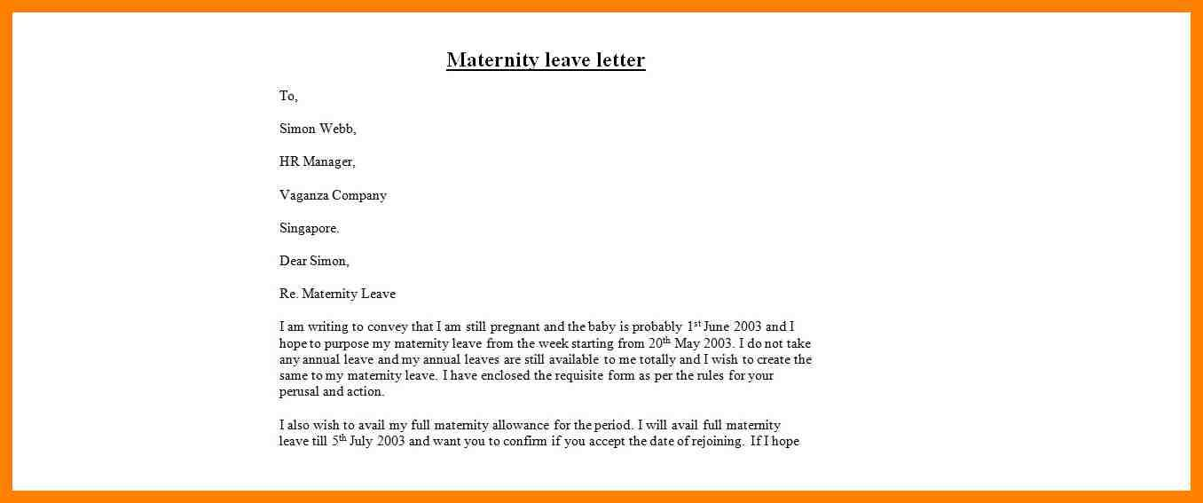 Examples Maternity Leave Letters Fancy Resume Letter Appeal Sample