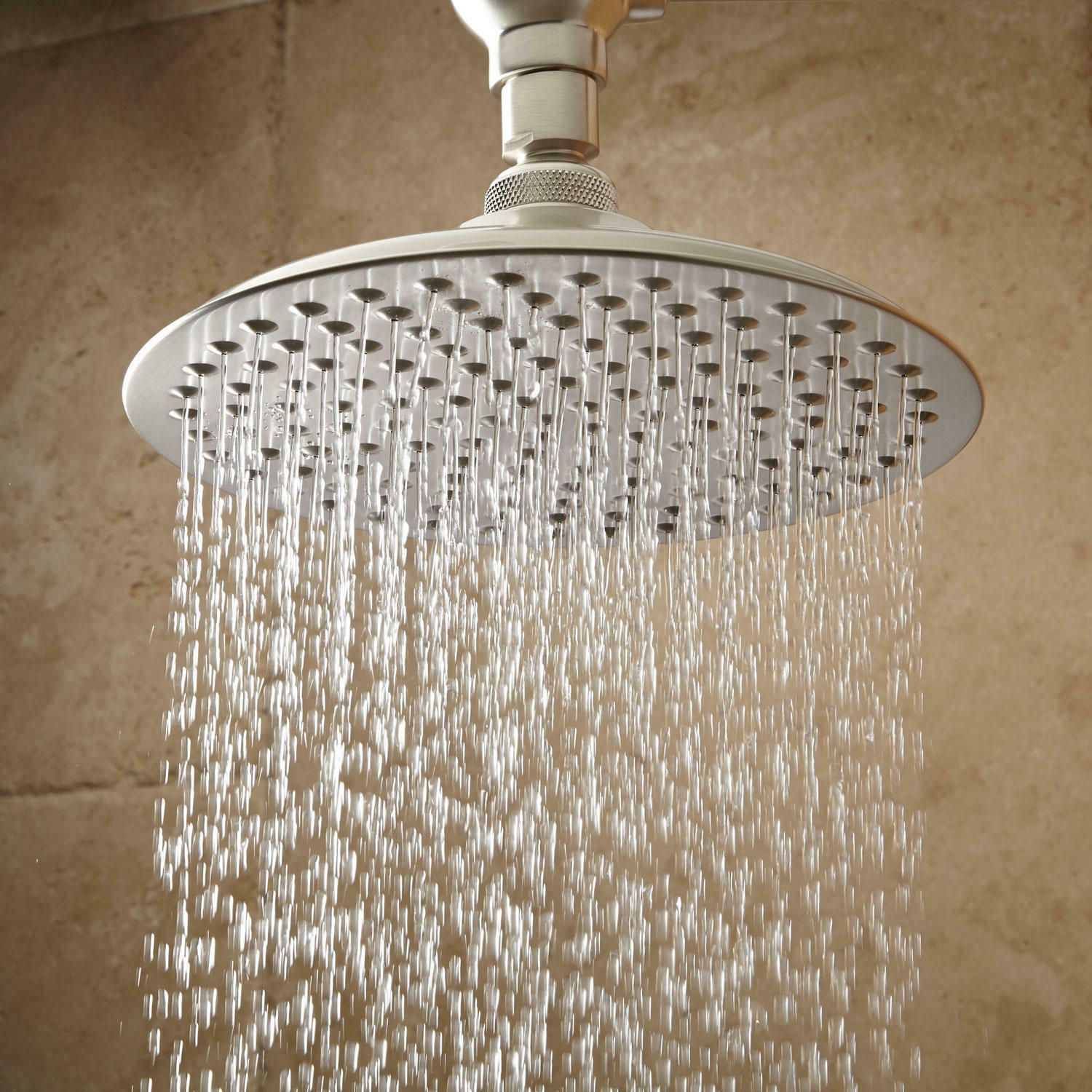 10 Bostonian Rainfall Shower Head With 19 Ornate Arm In Brushed