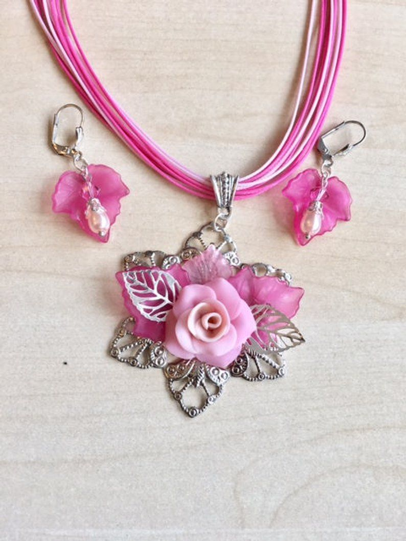cold porcelain rose jewellery set