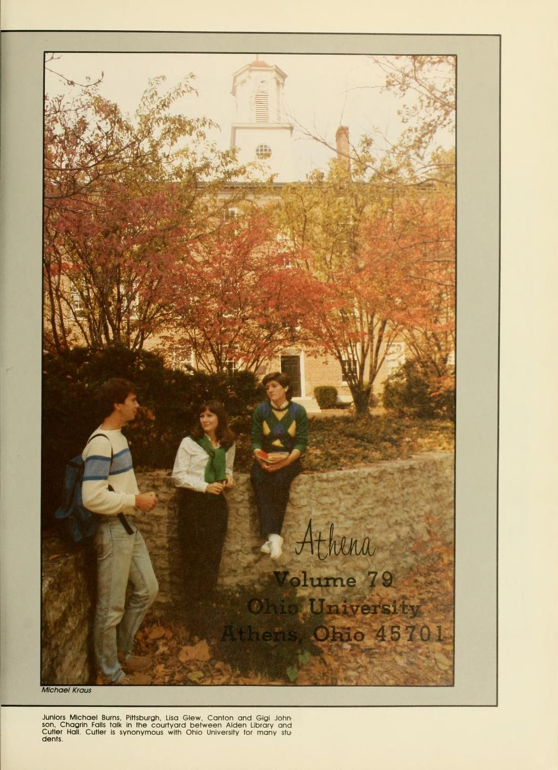 Athena Yearbook, 1984. Three people talk while in the Wolfe Garden ...