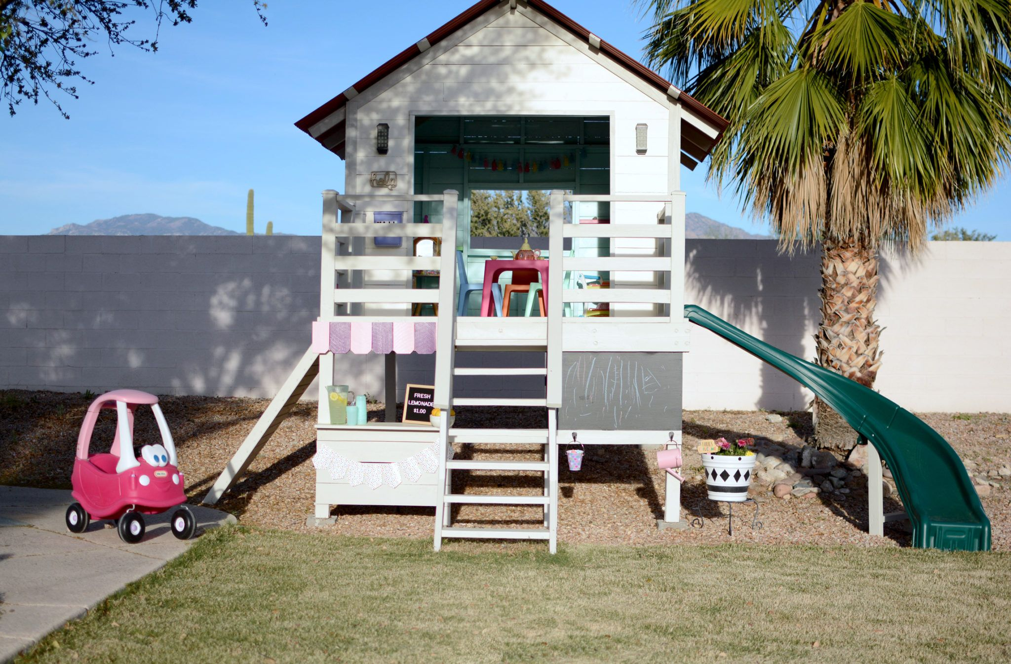 Operation Clubhouse Diy Playhouse With Slide In 2020 Playhouse With Slide Play Houses Diy Playhouse