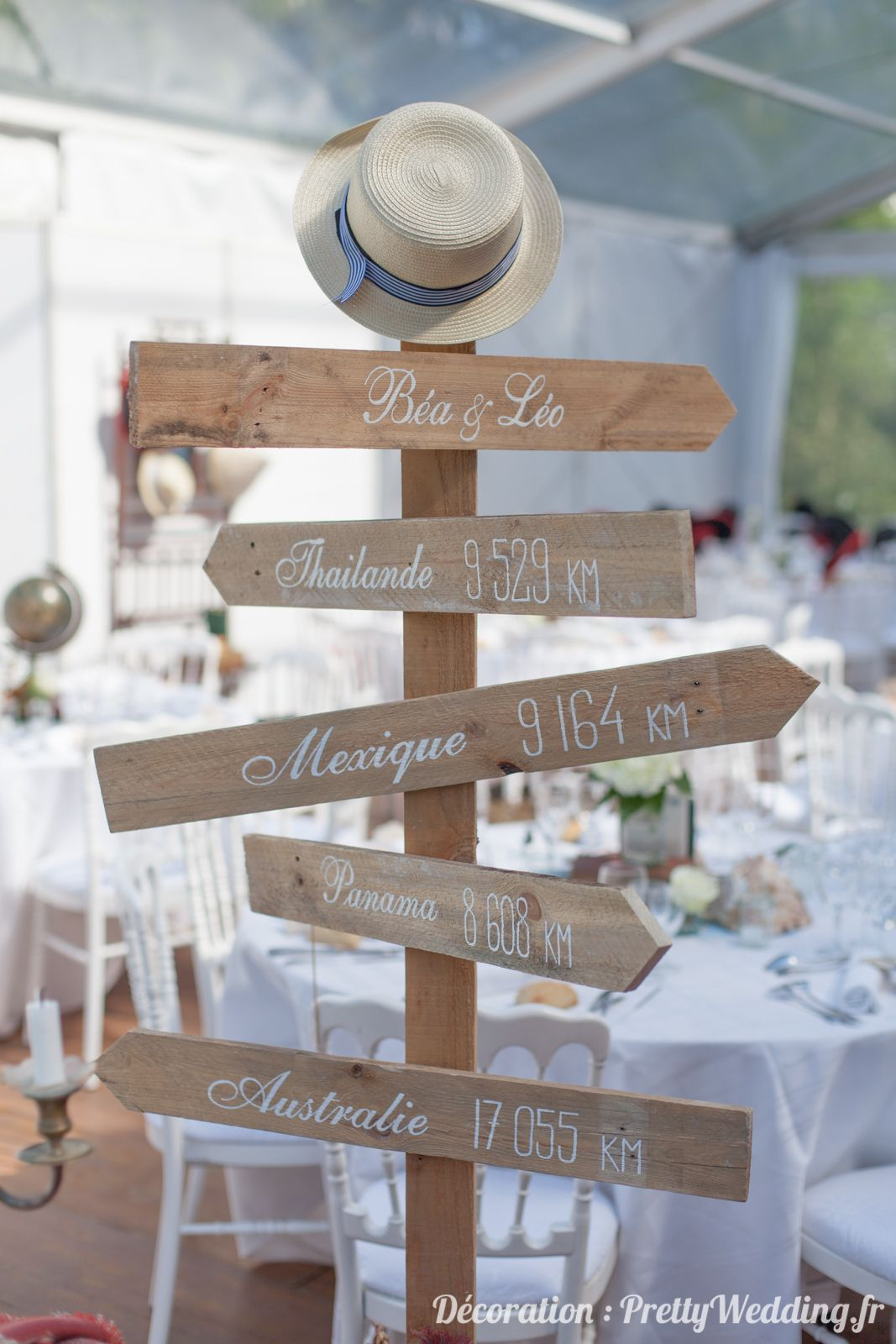 Une d coration de mariage autour du voyage pretty - Decoration table mariage theme voyage ...