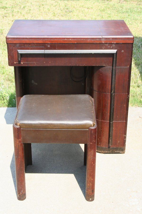 Art Deco Singer No 42 Sewing machine Cabinet. There are two styles, this