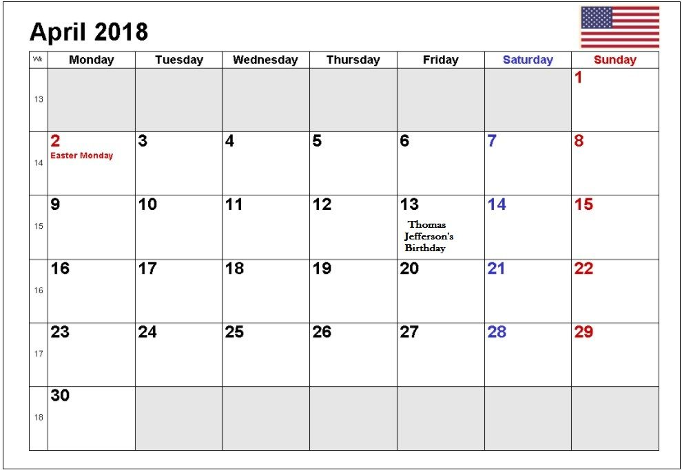 Free Printable April 2018 Calendar Holiday Calendar 2018