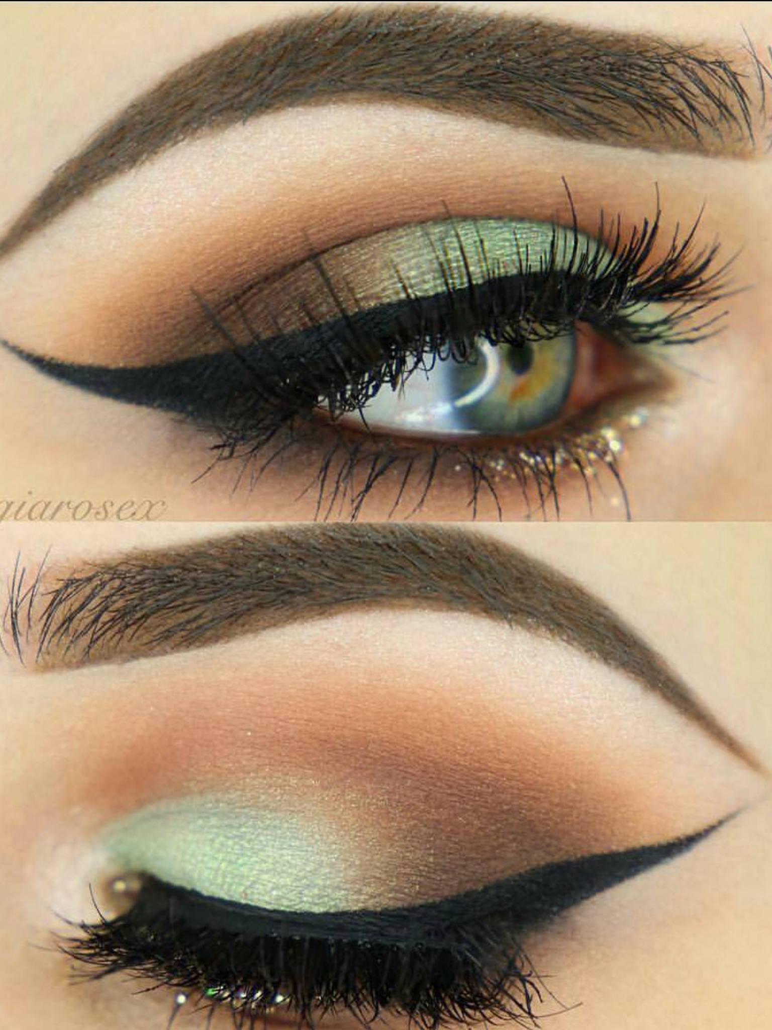 Eye makeup with a green touch #makeuplooksforbrowneyes ...