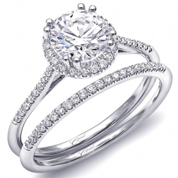 Coast Round Halo G Set Thin Shank Diamond Engagement Ring In 14k White Gold Featuring 0 14