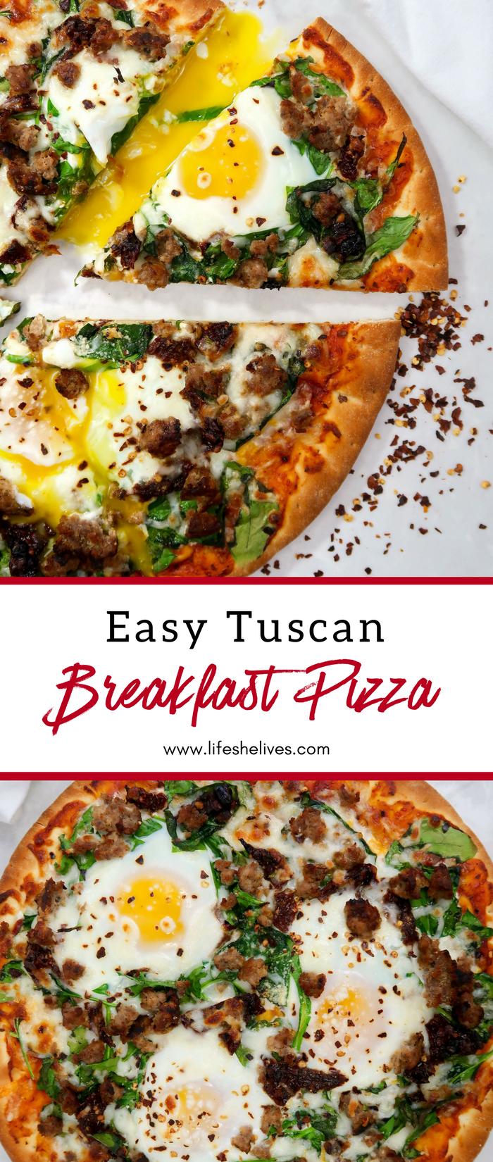 Easy Tuscan Breakfast Pizza | Breakfast Recipes | Breakfast Pizza | Pizza For Breakfast | Pizza Recipes
