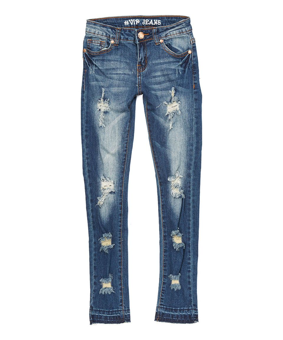 Love this Dark Blue Acid Wash VIP Skinny Jeans - Girls by VIP Jeans on #zulily! #zulilyfinds
