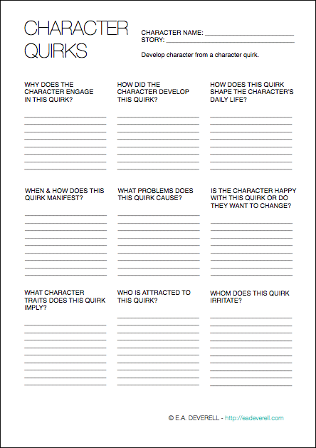 Character Quirks (Writing Worksheet Wednesday) | AUTHOR IN WAITING ...