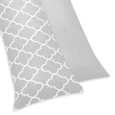 Sweet Jojo Designs Trellis Maternity Body Pillow Case In Grey White