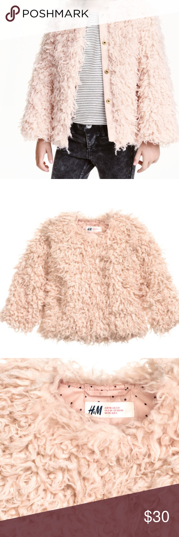 7fe55872b9a6 NWT H&M shaggy, faux fur, jacket NWT H&M (girl's size 7/8) Shaggy Faux Fur  Jacket, fabric is on photo #4. This fit me when I tried it on so it is  equivalent ...
