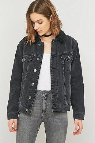 BDG Oversized Western Sherpa Black Denim Jacket - Urban Outfitters ...