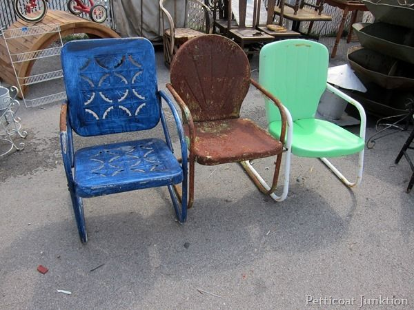 Colorful Vintage Metal Lawn Chairs Nashville Flea Market Junkin Petticoat  Junktion