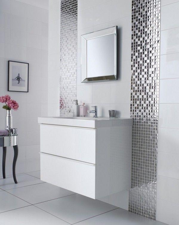 Image Of Modish Bathroom Wall Mirrors White Using Beveled Edge Over