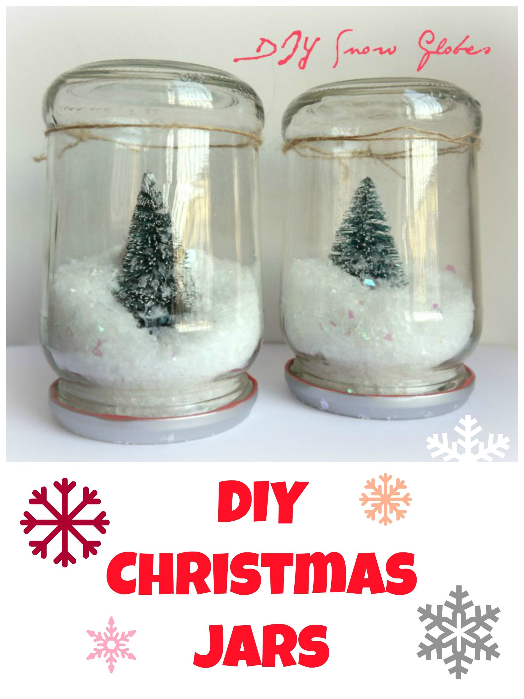 DIY Christmas Jars, snow globes (without water). Easy Christmas crafts.