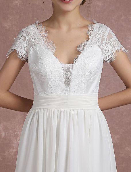 Robe de Mariée Bohème Robe de mariée en mousseline de soie à manches courtes Milanoo