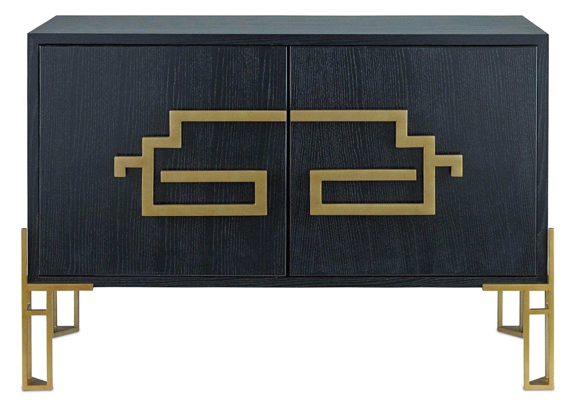 Esszimmermöbel schrank black sideboard with asianinspired gold metal hardware  muebles