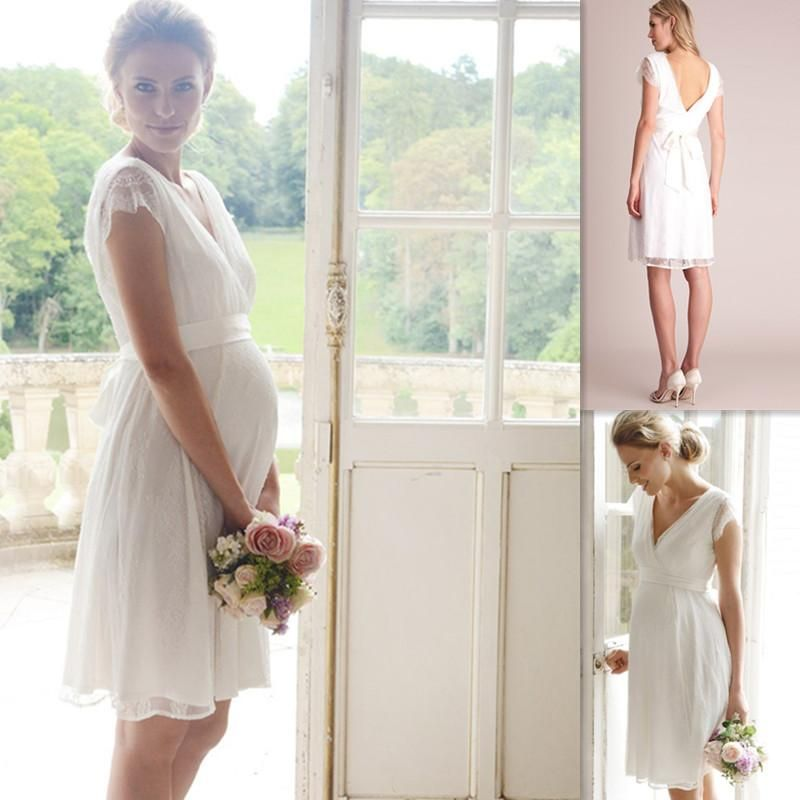 Maternity Wedding Gowns White Lace Cap Sleeves V Neck Knee