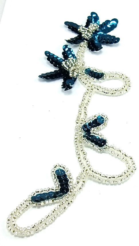 """Flower with Dark Turquoise Sequins Silver Beads 8"""" x 3.5"""""""