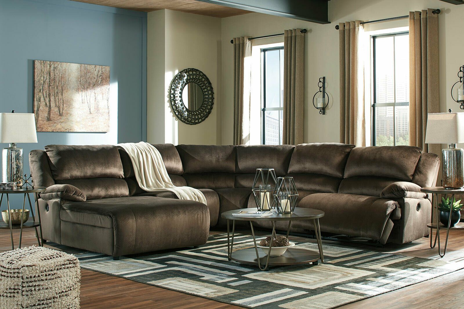 Excellent Modern 5 Piece Sectional Living Room Brown Fabric Reclining Cjindustries Chair Design For Home Cjindustriesco