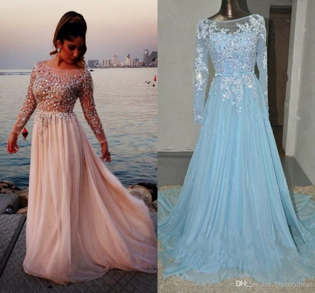 Sexy Long Dresses See Through Dress Cheap Sequin Beadings Appliques ...