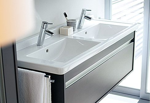 Duravit Ketho Double Sink With Starck 3 Sink   Shown In Graphite Matt