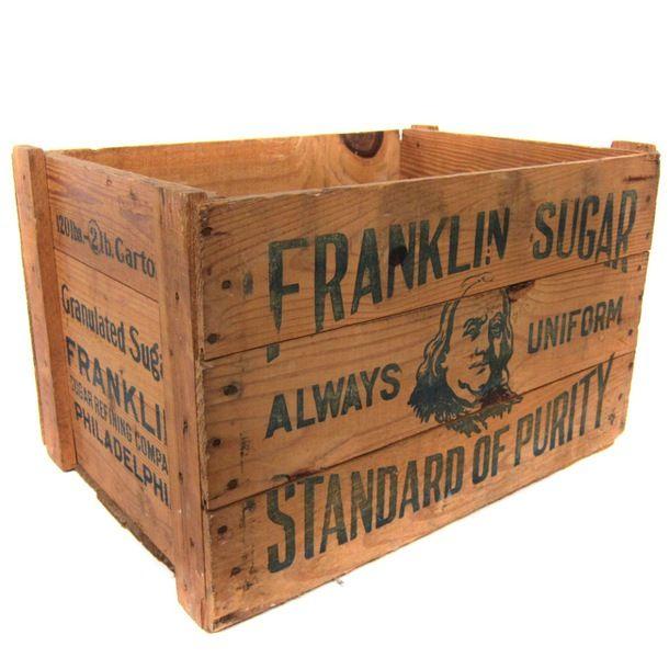 franklin sugar crate antique advertising crates boxes pinterest caisse rangement vinyle. Black Bedroom Furniture Sets. Home Design Ideas