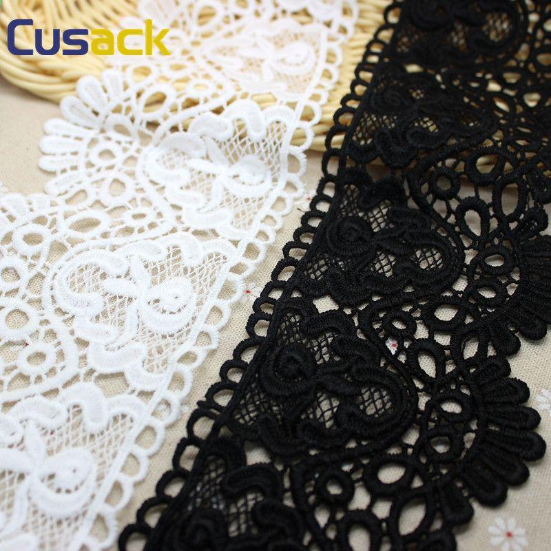 2 Yds Crochet Flower Venise Lace White//Black Applique Trims Sew On Bridal Dress