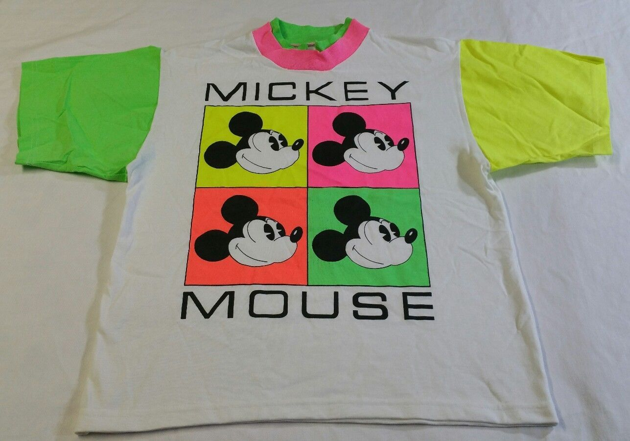 1b04997abac09 VINTAGE 80s DISNEY Wear Mickey Mouse T-Shirt Women's Neon Warhol ...