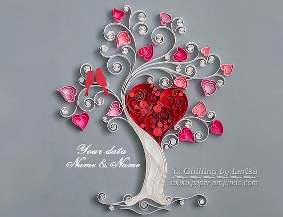 Quilling wall art Paper quilling art Love tree Quilling paper Wedding Anniversary The family love tree Framed Handmade Decor Design Gift#heartshape #wallart #graphicquilling