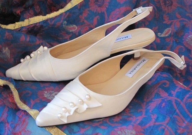 074835af0f4 Pearl   Satin Trim Kitten Heel Wedding Shoes