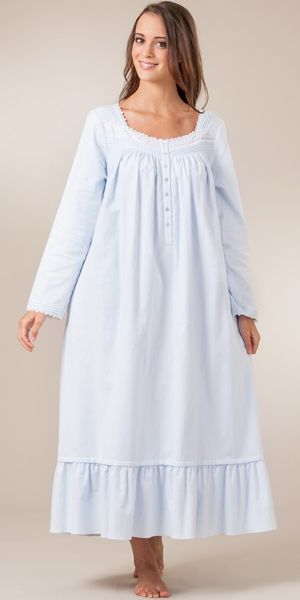 100 Cotton Flannel Night Gown By Eileen West Fairytale Blue Night Gown Nightgowns For Women Night Dress