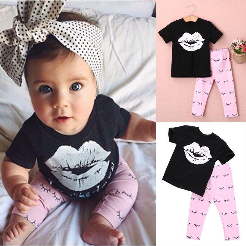 01cb53cce80d 2 Pc Set- Big Lip Black Shirt + Pink Eyelash Pants