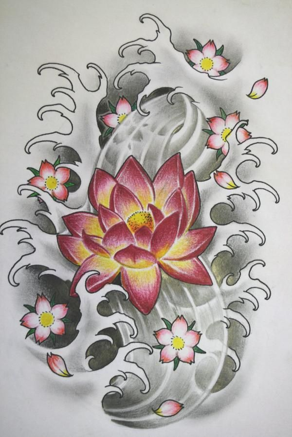Lotus Tattoo W Waves And Small Blossoms Japanese Flower Tattoo Japanese Tattoo Cherry Blossom Feather Tattoos